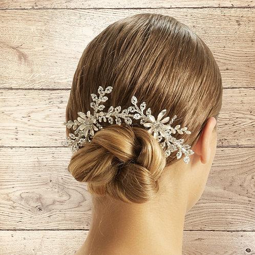 Pearl & Crystal Floral Headpiece, Vintage Bridal Accessories, Bridesmaid Hair, B
