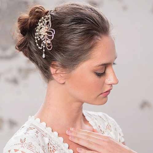 Starlet Allure Hair Comb, Silver or Rose Gold, Bridal Accessories, Bridal Hair,