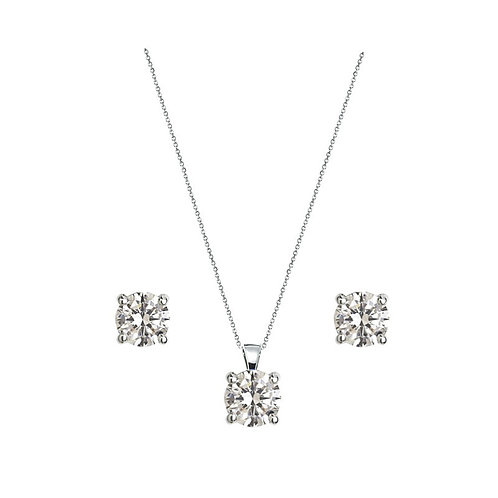Crystal Solitaire Necklace Set, Necklace & Earrings, Available in Silver, Bridal