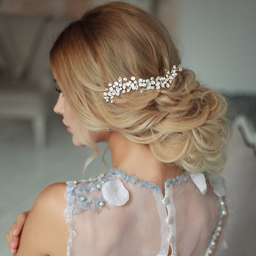 Pearl Allure Hair Comb, Available in Silver