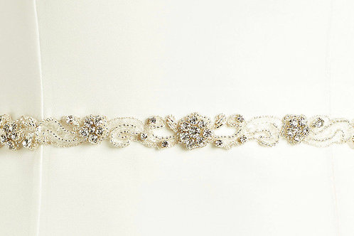 Beautiful Sparkling Crystal Beaded Belt - Ivory & Silver