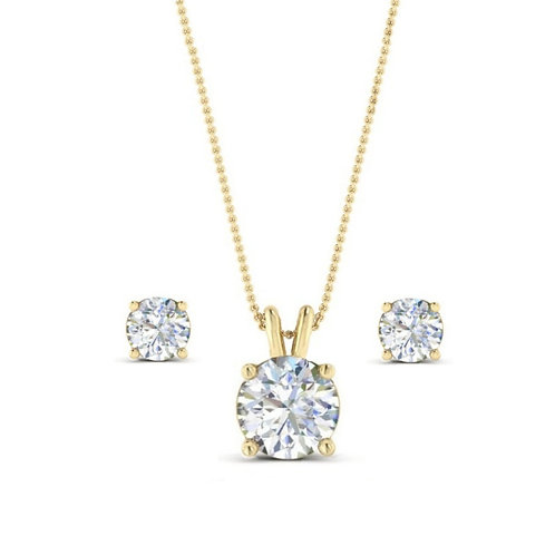 Classic Crystal Necklace & Earrings, Available in Gold or Silver, Bridal Accesso