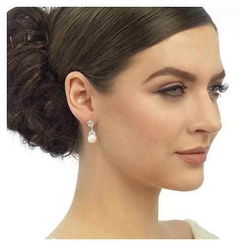 Clip On Graceful Pearl Earrings, Rose Gold