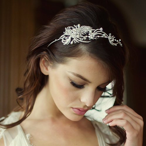 Lillian Luxe Crystal & Pearl Headband, Crystal, Pearls, Head band, Bridal Access