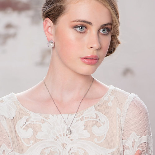 Chic Pearl Necklace, Silver,  Wedding Jewellery, Bridal Accessories, Crystal & P