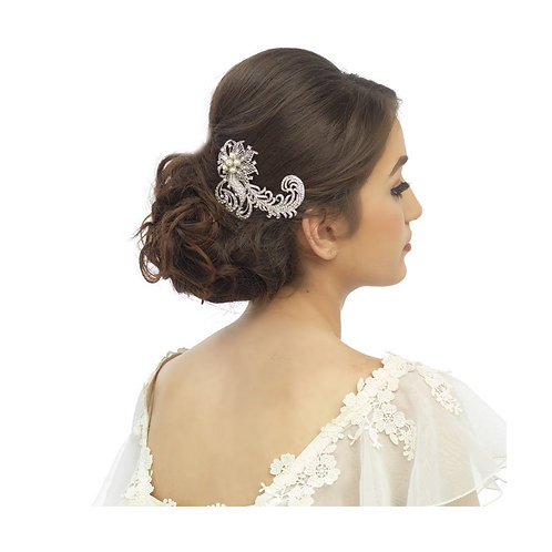 Luxe Feather Crystal Hair Comb, Silver,  Bridal Accessories, Bridal Hair, Crysta