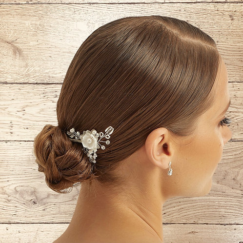 Luxe Floral Bridal Hair Pin, Wedding Hair Accessories, Available in Silver, Brid
