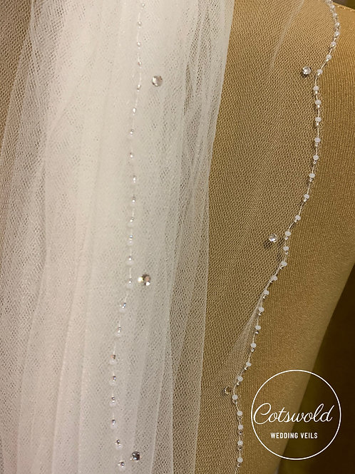 Beaded Edge - Single Layer Soft Tulle,  Genuine Swarovski Veil