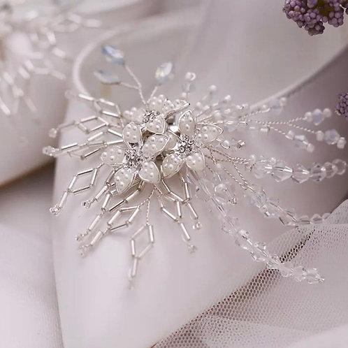 Geometric Pearl, Crystal & Beaded Bridal Shoe Clips, Beautiful Shoe Clips, Shoe