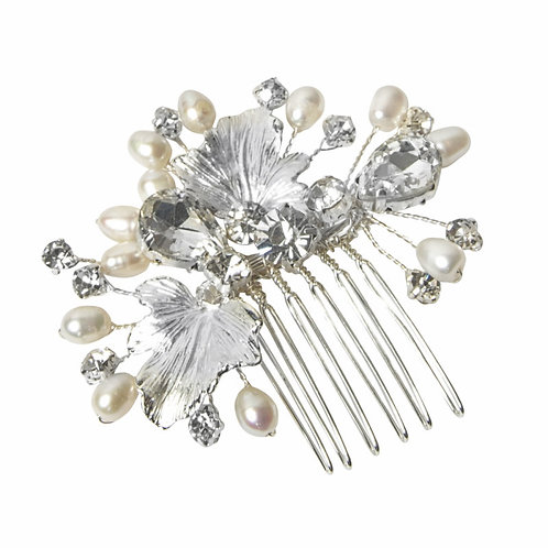 Crystal Embellished Freshwater Pearl Hair Comb, Available in Silver, Bridal Acce