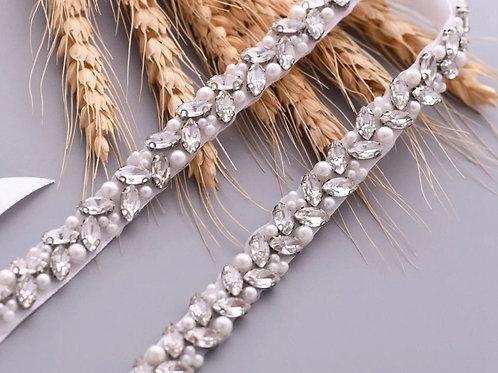 Crystal & Pearl Thin Bridal Belt, Wedding Dress Belt, Gold or Silver