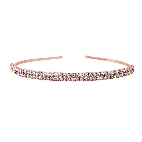 Beautiful Two Row Crystal Headband, Rose Gold Bridal Accessories, Bridesmaid Hai
