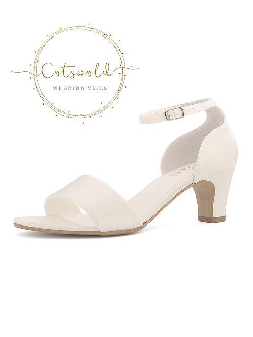 Beautiful Bridal Shoes, Ivory Satin Brides Shoes, Mid Heel Bridal Shoes