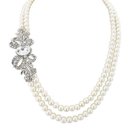 Vintage Glam Pearl Necklace, Available in Silver,  Wedding Jewellery, Bridal Acc