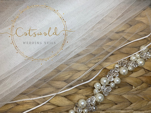 "32"" Pencil Edge - 2 Tier Soft Tulle Veil, White or Ivory"