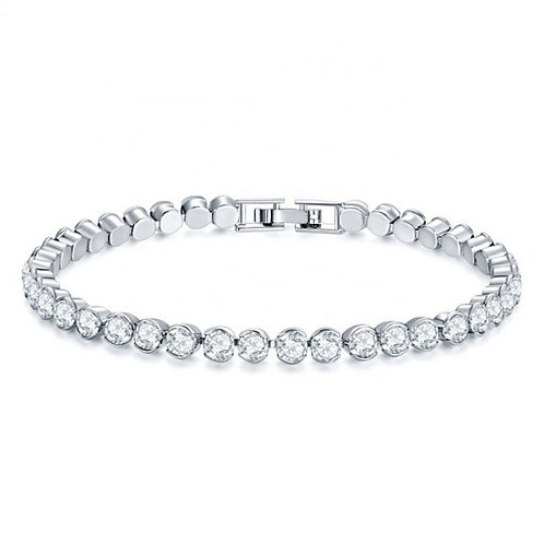 Classic Tennis Bracelet, Available in Silver or light Pink, Bridal Accessories,