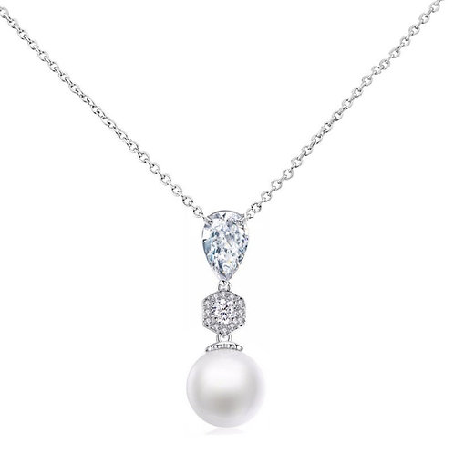 Exquisite Pearl Drop Necklace, Available in Silver,  Wedding Jewellery, Bridal A