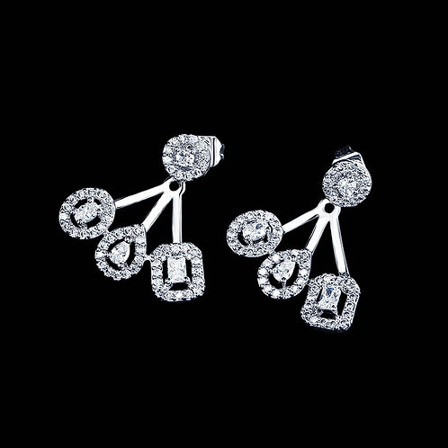 High Fashion Crystal Earrings, Silver, Bridal Accessories, Bridal Jewellery, Wed