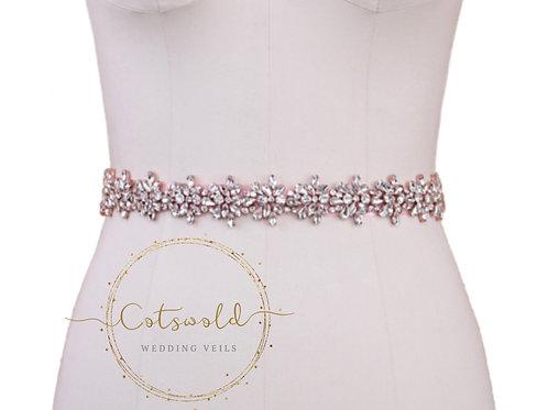 BEJEWELLED BRIDAL BELT - Rose Pink
