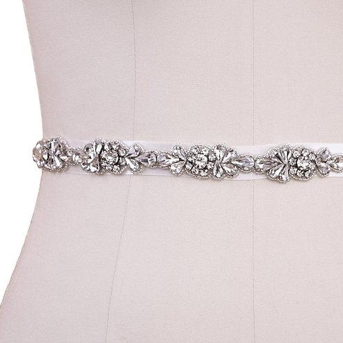 Beautiful Bridal Belt, Vintage Inspired Belt,  Wedding Dress Belt, Ivory Silver