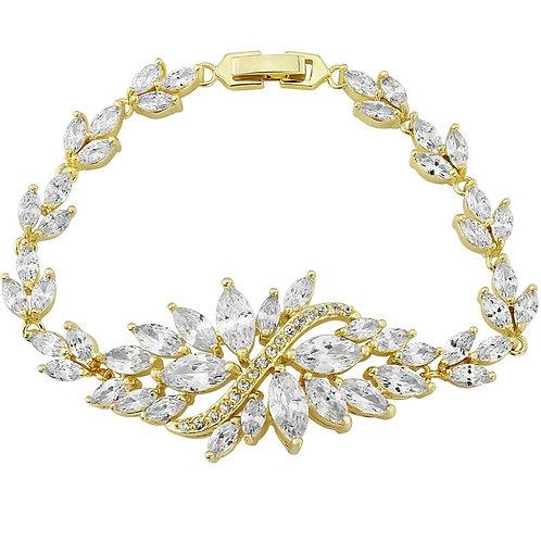 Statement Vintage Style Bracelet, Gold or Silver, Bridal Accessories, Wedding Je