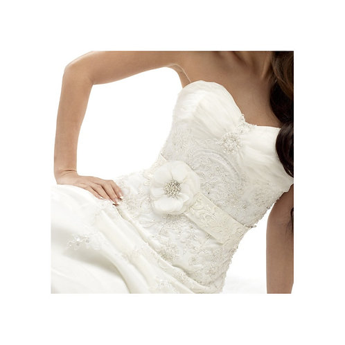 Beautiful Bridal Floral Sash,  Wedding Dress Belt, Ivory Sash, Pearl & Crystal E