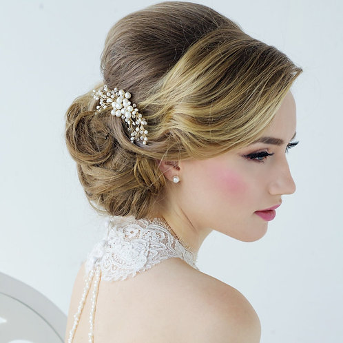 Nita Freshwater Pearl Hair Comb, Silver, Gold or Rose Gold, Bridal Accessories,