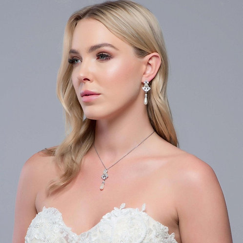 Exquisite Starlet Pearl Drop Necklace, Available in Silver