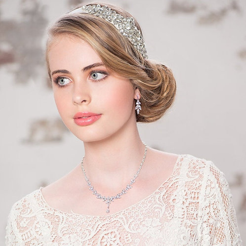 Exquisite Sparkle Necklace Set, Necklace & Earrings, Available in Silver, Bridal