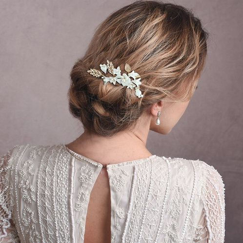 Exquisite Luxe Flower Hair Pin, Gold, Bridal Accessories, Bridal Hair, Bridesmai