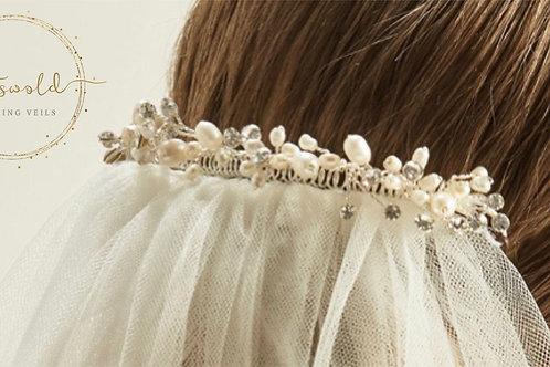 Beautiful Wedding Veil Clip - Cerys, pearl & crystal Veil Clip, Veil Accessories
