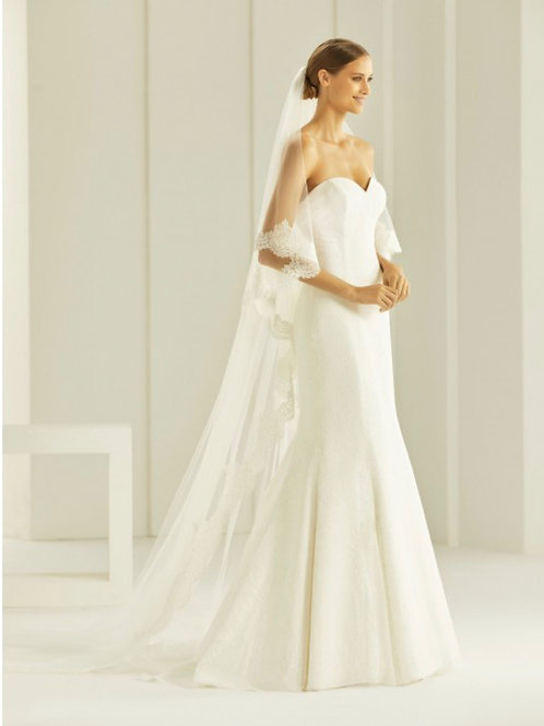 """118"""" Lace Edge - Soft Tulle 2 Layered Spanish Lace Veil"""