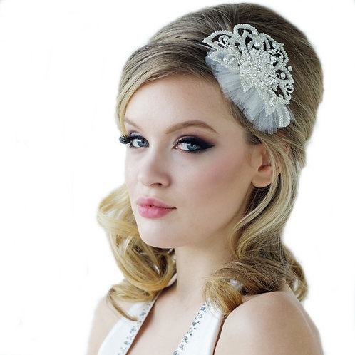 Luxe Bridal Headband, Crystal & Tulle Fabric Head band, Bridal Accessories, Brid
