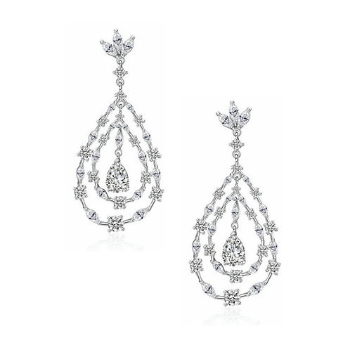 Crystal Glam Earrings, Available in Silver, Bridal Accessories, Bridal Jewellery