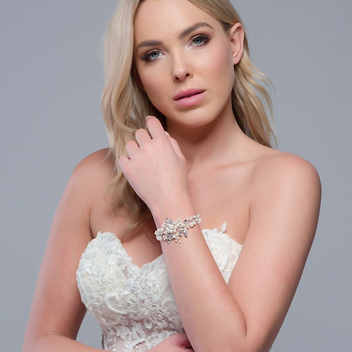 Divine Pearl Bracelet, Available in Silver or Rose Gold, Bridal Accessories, Wed