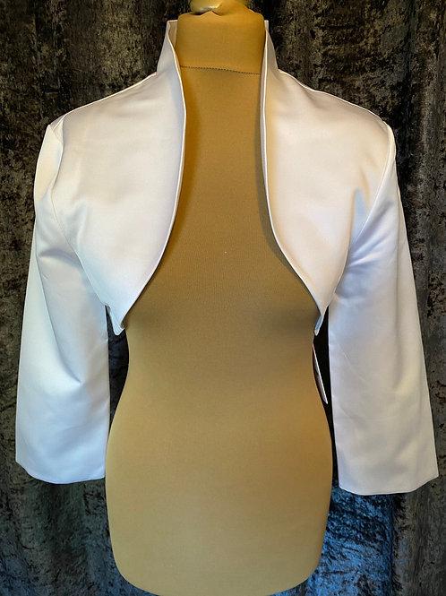 Beautiful Matte Satin Bolero - Wedding Dress Cover Up Accessories,  Ivory, Black