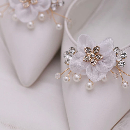 Crystal & Pearl Flower Bridal Shoe Clips, Shoe Brooches, Shoe Buckles, Crystal P
