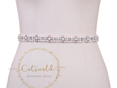 Dainty Daisy Rose Pink Bridal Belt, Wedding Dress Belt, Pink Crystal & Pearl Bri