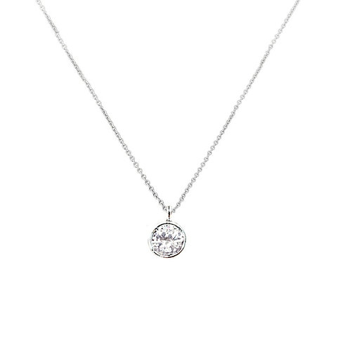 Crystal Solitaire Necklace, Available in Silver,  Wedding Jewellery, Bridal Acce