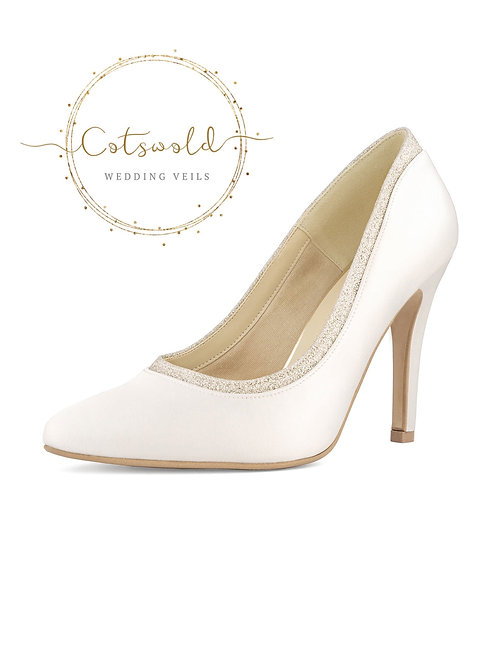 Beautiful Bridal Shoes, Classic Ivory Satin Court Shoes, High Heel with Glitter