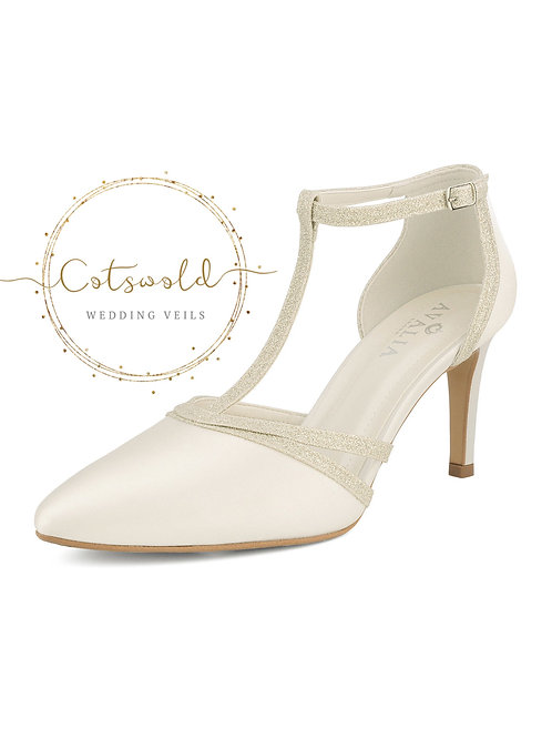 Beautiful Bridal Shoes, Ivory Satin & Glitter Trim Brides High Heel Shoes