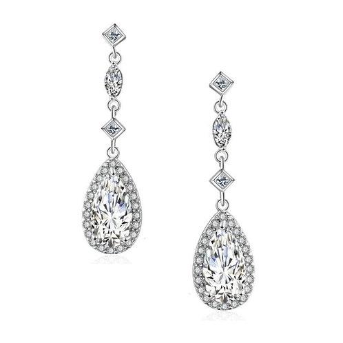 Eternal Elegance Crystal Drop Earrings, Available in Silver, Bridal Accessories,
