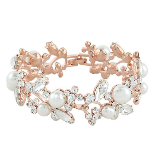Glam Pearl Bracelet, Rose Gold, Bridal Accessories, Wedding Jewellery, Crystal &