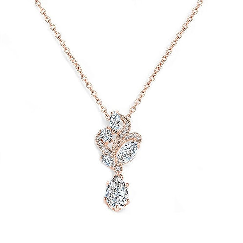 Bejewelled Crystal Necklace, Available in Silver or Rose Gold, Wedding Jewellery