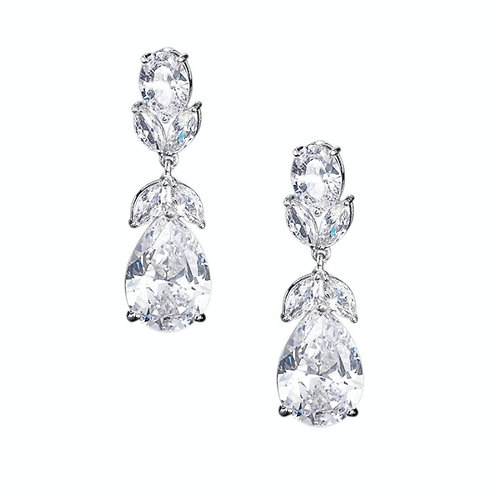 Crystal Starlet Earrings, Available in Silver, Bridal Accessories, Bridal Jewell