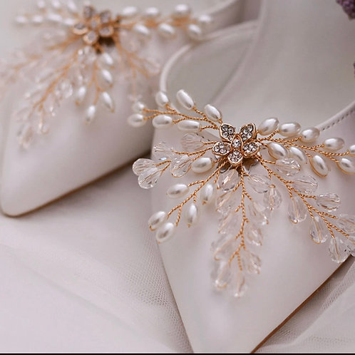 Stunning Golden Vine Bridal Shoe Clips, Shoe Brooches, Shoe Buckles, Crystal & P