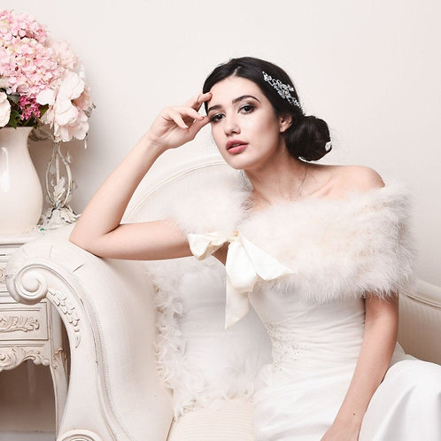 Vintage Style Ivory Marabou Feather Stole, Bridal Wrap, Brides Feather Shrug, Br