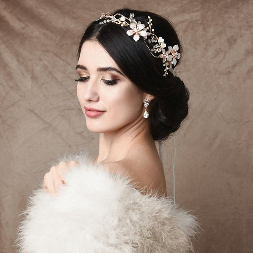 Exquisite Romance Hair Vine, Wedding Hair Accessories, Silver, Gold (Blush Pink)