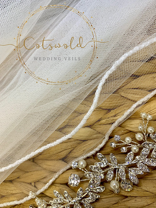 "28"" Beaded Edge - Single Layer Soft Tulle Veil"
