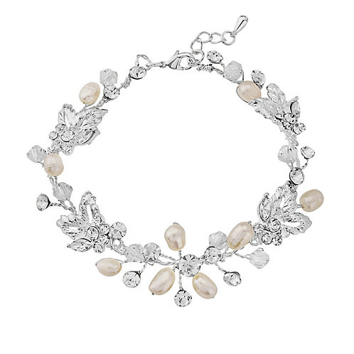 Chic Freshwater Pearl Bracelet, Available in Silver, Bridal Accessories, Wedding
